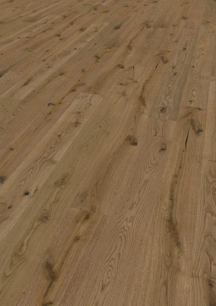 Podea triplustratificată Eurowood 1 lamelă Stejar Brown Rustic uleiat, periat, frezaj 4V